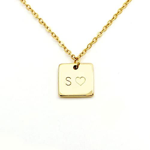 Amazon customized initial pendant necklace simple square amazon customized initial pendant necklace simple square necklace in gold silver rose gold perfect gift sn gold mignon and mignon jewelry aloadofball Images