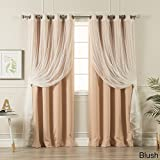 Aurora Home MIX & MATCH CURTAINS Blackout Tulle Lace Sheer Bronze Grommet 4-piece Curtain Panel Pair Blush 52 x 63 63 Inches For Sale