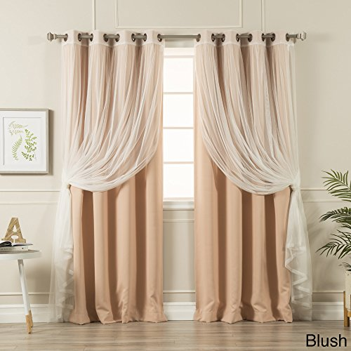 Aurora Home MIX & MATCH CURTAINS Blackout Tulle Lace Sheer Bronze Grommet 4-piece Curtain Panel Pair Blush 52 x 63 63 Inches