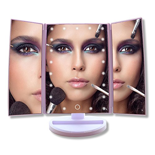 COSOON Tri-Fold Lighted Makeup Mirror with 21 LED Lights & 2X & 3X Magnifying Mirror Folding Vanity Mirror for Travel Home Bathroom, USB or Battery Powered (Bright White)