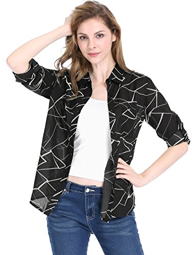 - Allegra K Women's Long Roll up Sleeves Geometric Prints Tunic Shirt M Black