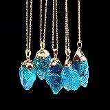 Fashion Unisex Irregular Necklace Natural Crystal Quartz Stone Gemstone Pendant#by pimchanok shop (@4)