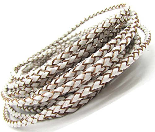 (3.0mm White Round Folded Bolo Leather Cord for Necklace Bracelet Jewelry Making 5 Meters)