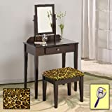 New Cappuccino / Espresso Finish Make Up Vanity Table with Mirror & Leopard Animal Print Themed Bench