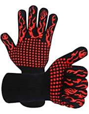 Oven Mitts,Warome BBQ Gloves 800°C Heat Resistant Grill Gloves Fireproof Barbecue Grilling Potholders Silicone Non-Slip Oven Mitts for BBQ, Cooking, Baking, Grilling, Welding (Red)
