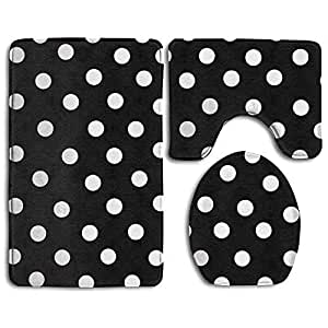slobyy black and white dots non slip bath mat 25112