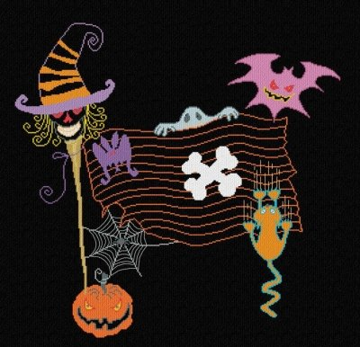 Halloween Flag Cross Stitch Chart (AAN371) and Free Embellishment -