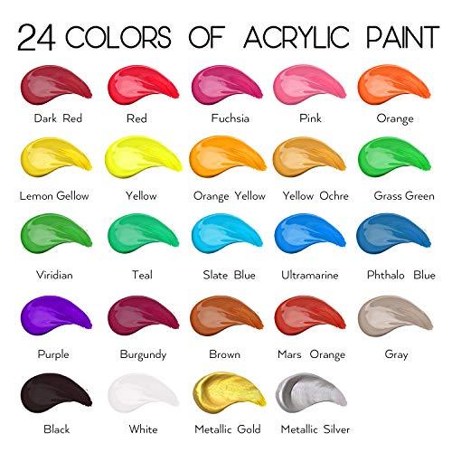 Acrylic Paint Set of 24 Colors 2fl oz 60ml bottles,Non Toxic 24 Colors...
