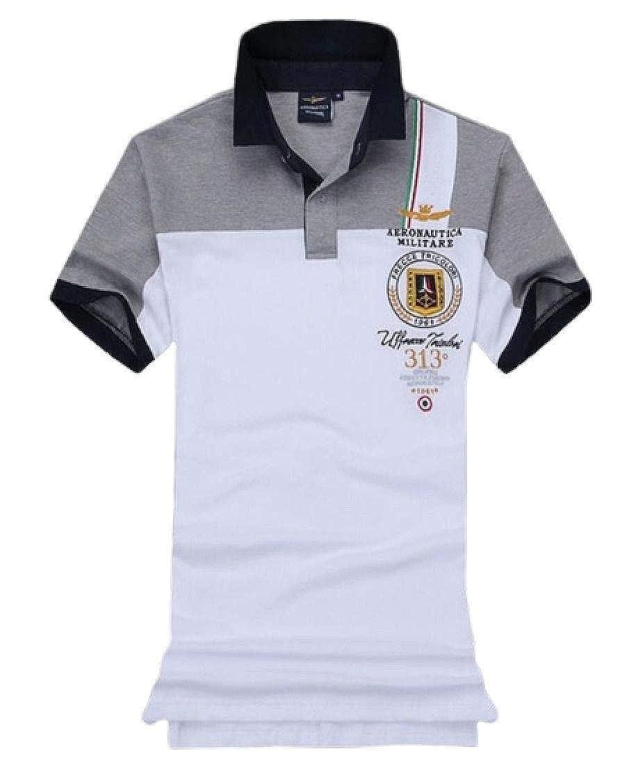 Fensajomon Mens Classic Ma-1 Flight Cotton Short Sleeve Color Block Polo Shirts