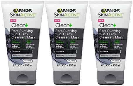 Garnier SkinActive Men's Pore Purifying Charcoal Face Wash & Mask,  3 Count