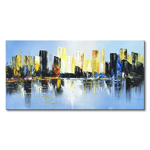 Konda Art - Hand Painted Canvas Cityscape Oil Painting Modern Abstract Canvas Wall Art Large Size Artwork Stretched and ready to hang (60''W x 30''H) by Konda Art