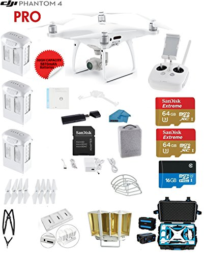 DJI-Phantom-4-PRO-Quadcopter-Drone-with-1-inch-20MP-4K-Camera-KIT-3-Total-DJI-Batteries-2-64GB-Micro-SDXC-Cards-Reader-Snap-on-Prop-Guards-Range-Extender