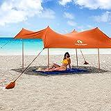 Red Suricata Family Beach Sunshade - Sun Shade Canopy | UPF50 UV Protection | Tent with 4 Aluminum Poles, 4 Pole Anchors, 4 Sandbag Anchors | Large & Portable Shelter Tarp (Orange, Medium)