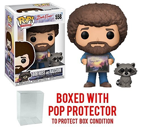 Funko Pop  Television  The Joy Of Painting   Bob Ross With Raccoon  558 Vinyl Figure  Bundled With Pop Box Protector Case