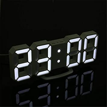 ZHIJINLI 3D LED Reloj de Pared Luz Nocturna Moderno Reloj Despertador Digital Luz Nocturna de Escritorio