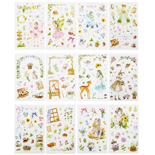Kawaii Gardening Fairy Girl Floral Sticker Set Cute Animal Rabbit Deer Stationery Stickers Diary Book DIY Craft Arts Scrapbooking Travel Journal Planner Decorative Label School Supplies for -
