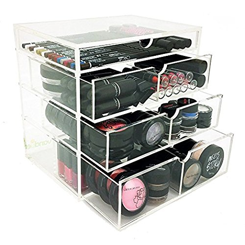 Vencer Acrylic Makeup Organizer Holder Box with 4 Removable Drawers VMO-016 (Acrylic Drawers Large)