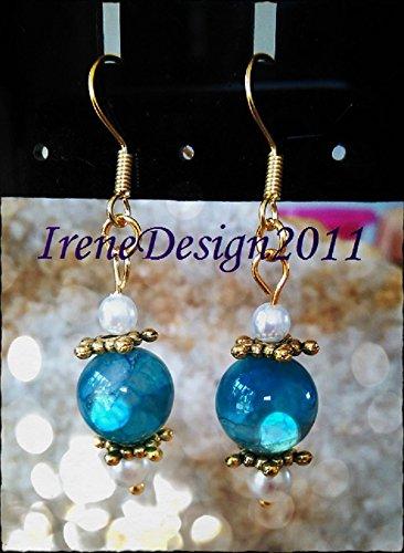 Blue Vein Agate & Pearl Earrings
