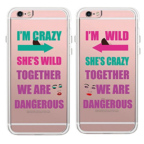 TRFAEE Personality Best Friends BFF Couple Matching Partners Sisters Clear Soft TPU Rubber Anti-Scratch Protective Covers Cases for Apple iPhone 6 6S 7 8 Plus X