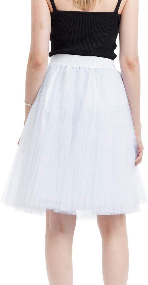 QHJ - Falda de tul para mujer, tutú, malla, 4 capas, falda plisada ...