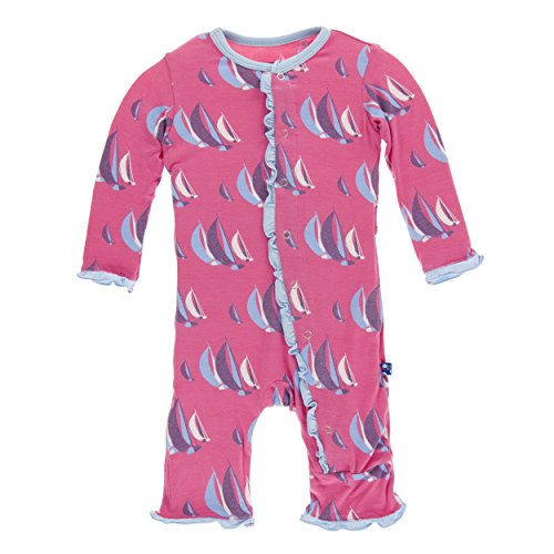 Classic Coverall (Kickee Pants Print Classic Layette Ruffle Coverall With Snaps Flamingo Sailing Race (6-9 Months))