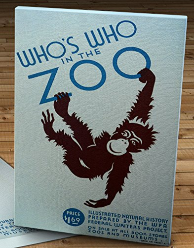 Vintage WPA Poster - Who's who in the Zoo - Monkey - Canvas Gallery Wrap - 10 x 16