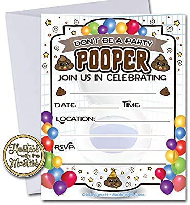 Amazon.com: Oh Boy Love It Poop invitaciones de cumpleaños ...