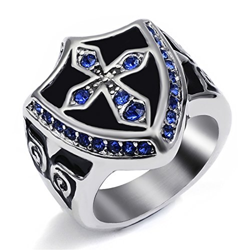 Elfasio Men's Women's Silver Blue Cubic Zirconia Crystal Cross Noble Knight Stainless Steel Ring Size 13