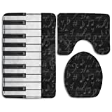 Piano Music Comfort Bathroom Rugs Set Fastness Bath Rug Set Dries Quickly Lid Toilet Cover And Bath Mat