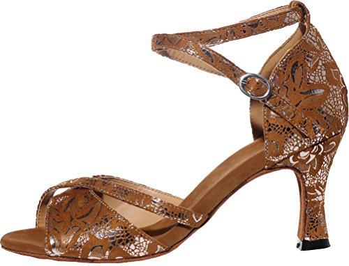 Caviglia Toe Ballo Swing Scarpe Latino Alla cha Brown Sole Cha Sexy Wedding Ladies Tango Partito Cfp Cinturino Sudue Lint Da Peep Moda 3in Sala Principiante BCfxtRvRqn