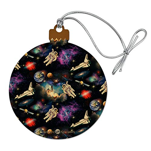 GRAPHICS & MORE Astronaut Space Earth Moon Solar System Pattern Wood Christmas Tree Holiday Ornament Earth Christmas Tree Ornament