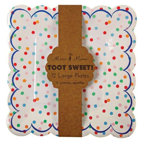 Meri Meri Party Plates, Toot Sweet Spotty - Large