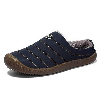 QIfafa Mens Womens Invierno Zapatillas Caliente imitación Gamuza Forrado bajo Superior Slip-on Interior Exterior Antideslizante Zapatos de algodón: ...