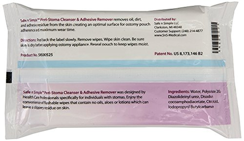 Stoma/Adhesive Remover Wipes, 5.5 x 9 Inch - 1/Pack by Safe n Simple