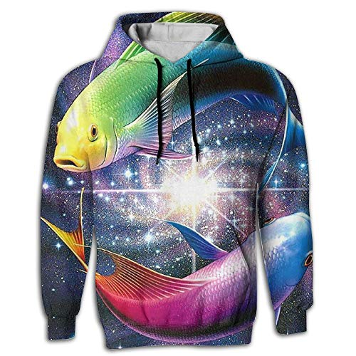 Men's Pullover Hooded Sweatshirt Pisces Fishes Hoodies Cozy Drawstring Kangaroo Pockets