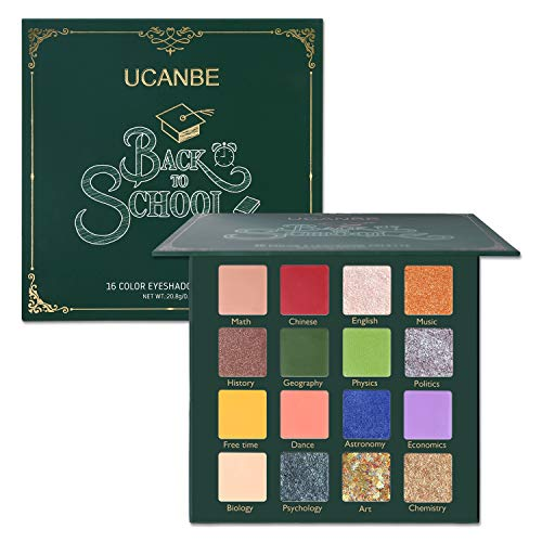 UCANBE Makeup Eyeshadow Palette Glitter Eyeshadow - Matte Shimmer 16 Colors - Back to School Palette - Professional Eye Shadow Makeup Pallets (Back to School Palette)