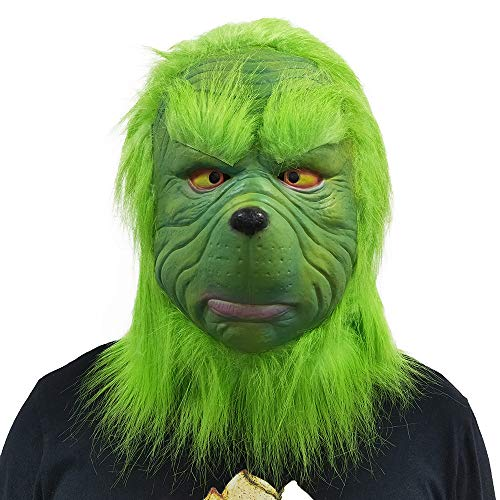 CHENLIN Grinch Deluxe Mask Grinch Costume Suit for Christmas with Green -