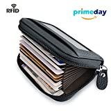 Leather Credit Card Wallet for Women RFID Credit Card Holder Protector ID Wallet Zipper Black