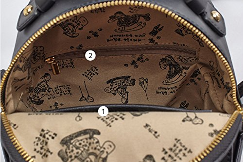 Moda Mujer Bowknot PU Cuero Casual Pequeño Mochila Bolsa De Hombro Bolso De Escuela Mochila Mochila Viaje,Black-19*10*24cm Blue