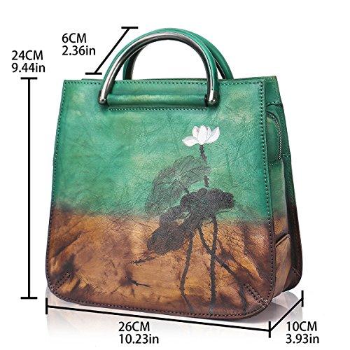 Leather Handbags Genuine Shoulder APHISONUK Ladies Handbag Floral Vintage Elegant Green Women's Crossbody Bag 5RxnwO