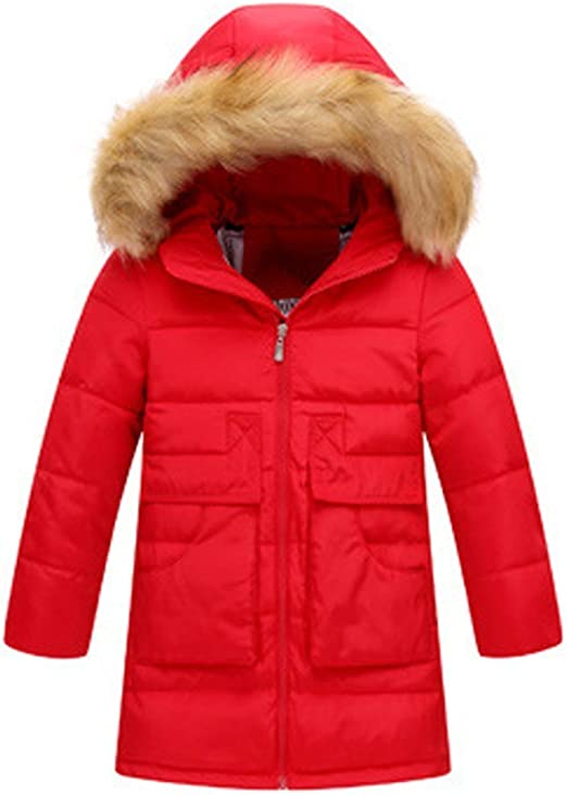 OCHENTA Boys Girls Winter Coat Puffer Jacket Padded Overcoat with Fur Hood