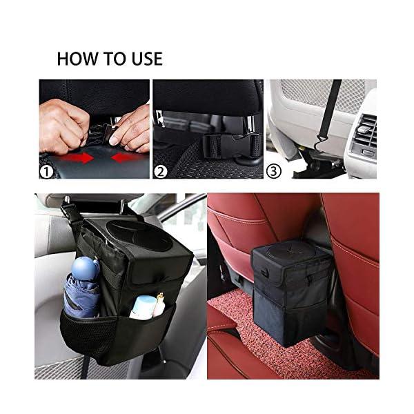 51aqNdQVZiL Winzwon Auto Mülleimer, IP68 Wasserdicht Abfalltasche, 6L Faltbar Abfalltasche Auto Tasche mit Deckel, Zusammenfaltbare…