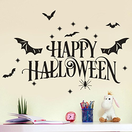 Home Décor Usstore 1PC Happy Halloween Bone Decals Decoration For Bedroom living bathroom House Shop Office Windows Decor Ornament (Happy Halloween Graphic)