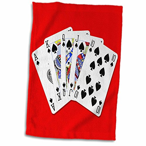 3D Rose Poker. Royal Flash. Spade. Popular Image Hand Towel, 15