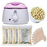 Makartt Wax Warmer Kit Melter Hair Removal Kit con 4 bolsitas Hard Wax Beans y 10 varillas aplicadoras de cera