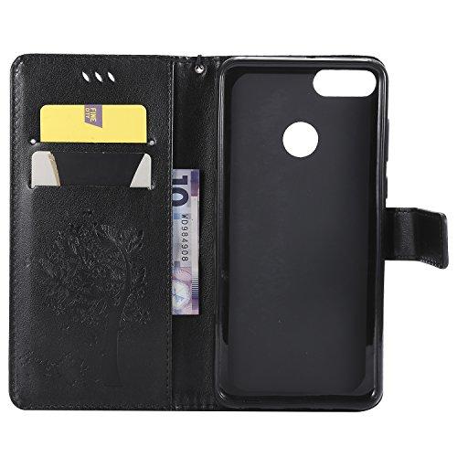 Vert Portefeuille Y9 Huawei Case Rotin arbre d'impression à Etui BONROY Support chat 2018 Slots Rabat Carte de noir Cuir Etui et Fleur Housse Style Cover 8wOqRpxd5