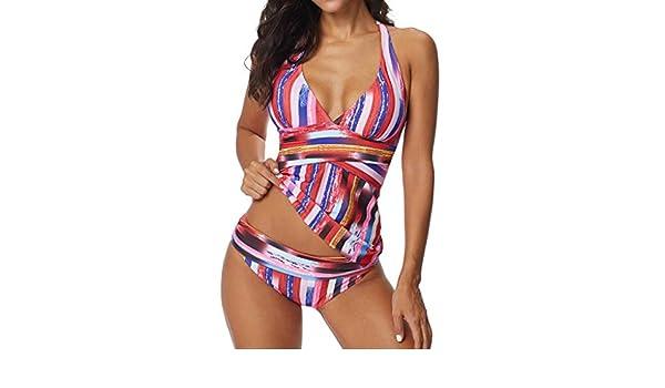 Bikinis Tallas Grandes Mujer Rayas 2019 Sujetador Tangas Sexys Ropa de baño Push up Traje de baño Mujer Dos Piezas Playa 2pcs: Amazon.es: Ropa y accesorios
