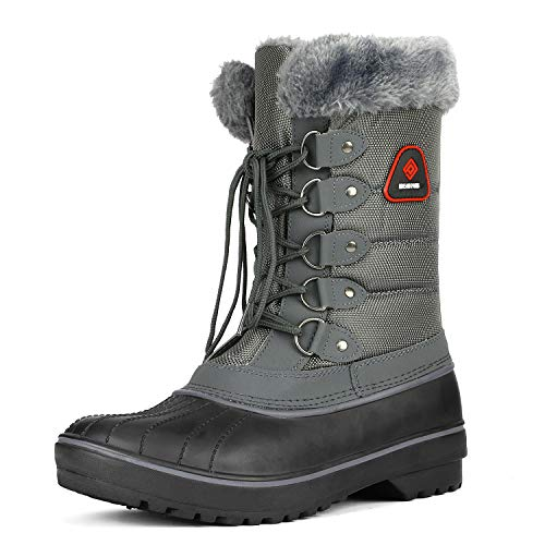 DREAM PAIRS Women's DP-Canada Grey Faux Fur Lined Mid Calf Winter Snow Boots Size 9 M US (Womans Boot Liners)