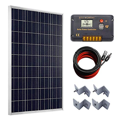 ECO-WORTHY 100 Watts Solar Panel + 20A LCD Display PWM Charge Controller + 16 Feet Solar Cable Adaptor for Off-Grid RV Boat -