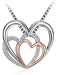 Heart Necklaces, Pendent Necklace with 925 Sterling...